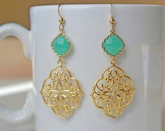 Mint Oriental Earrings