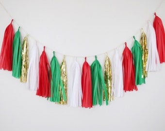 Red and Green Tassel Garland - Red and Green Party Decor, Red Tassel Garland, Green Tassel Garland, Red Birthday Decor, Red and Gold Decor