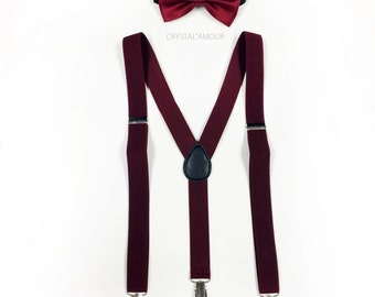 Burgundy suspenders, burgundy bowtie, suspenders and bowtie, bowtie and suspenders, maroon suspenders, maroon bowtie for children and adults