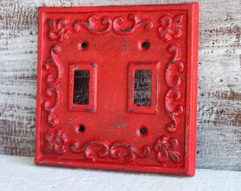 Light Switch Cover, Red Light Switch Plate, Double Lightswitch Plate Cover, Cast Iron Fleur de lis Switchplate, Outlet Cover