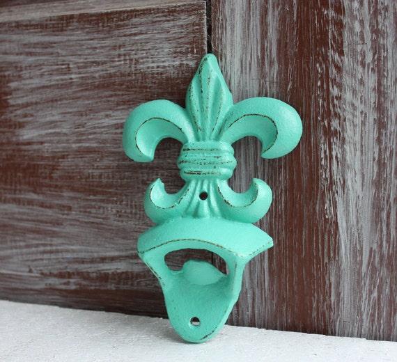 Fleur de lis bottle opener aqua turquoise kitchen decor bar - Fleur de lis bottle opener ...