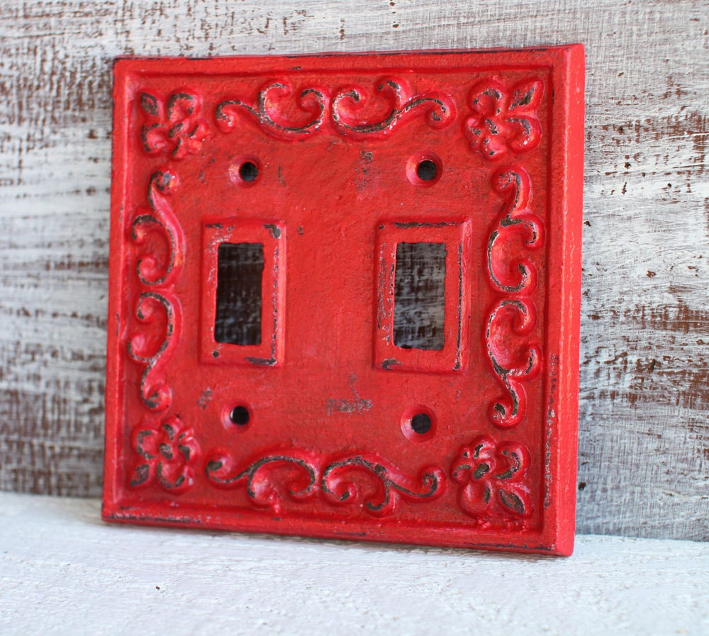 Light Switch Plate Cover: Light Switch Cover Red Light Switch Plate Double Lightswitch