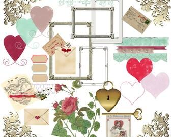 Digital Valentine Scrapbook Elements, Digital Scrapbook Elements, Valentine Scrapbook Elements, Digital Embellishments