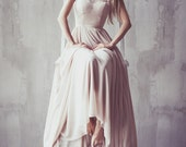 Coffee shade matt silk wedding gown with handmade lace appliques