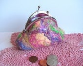 Wet Felted wool coin purse with silk threads, and silk fibers. Peach, purple, pink, green. lined. Exquisite!