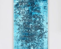 Large abstract painting large canvas painting huge painting big painting blue turquoise teal white black brown abstract art wall art text