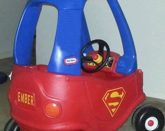 SUPERMAN Cozy Coupe Kit Vinyl Sticker and Tutorial Package Completely Customizable