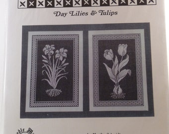 Positively Negative Day Lilies & Tulips cross stitch chart by Martha Schmidt for Needle Maid Designs, Inc.