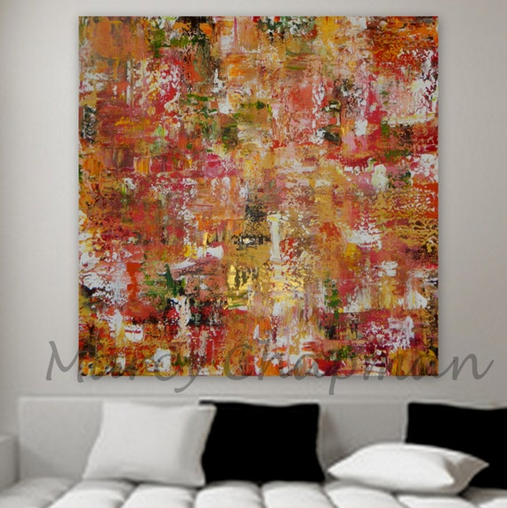 Fall colors Huge original abstract orange yellow green gold Large Original Abstract painting Marcy Chapman. gold red orange pink yellow red
