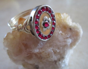 Red Ring, Flower Ring, Magenta Ring, Wire Wrapped Ring, Size 9 Ring, Large Size Ring