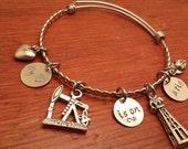 Hand stamped oilfield bangle bracelet-My (heart) is on a rig-Oilfield wife gift-Oilfield wife bracelet-Oil derrick bracelet-oil rig bracelet