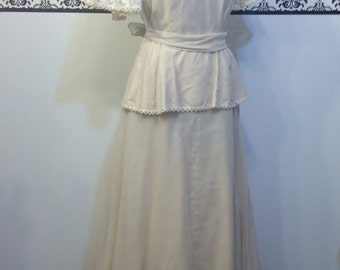 Deadstock 1970's Natural Color Maxi Dress by This is Yours, Size Small / Medium, Vintage Lace & Linen Bohemian Wedding Dress, Peasant / Boho