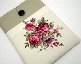 kindle case, Personalized Kindle Cover Padded, Kindle Case, Nook Cover , Ereader Case, Custom Sleeve- Floral