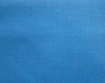 Vintage Medium Blue Polished Cotton Fabric by the yard - 36 inches long  x 59 inches wide