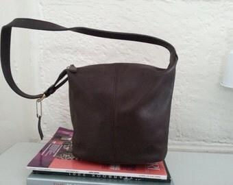 Vintage Coach Brown Leather Soho Hobo Bucket Bag #4148