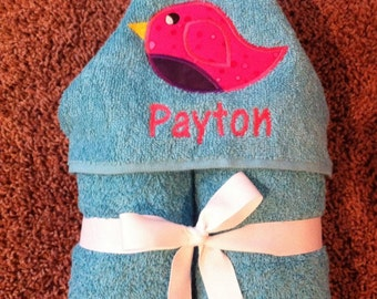 Personalized Bird Hooded Towel