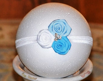 Triple Rosette Flower Headband with Rhinestones, OTHER COLORS AVAILABLE, Baby Girl Headband, Light Blue, Blue and White Headband. Toddlers