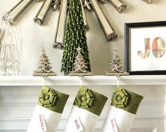 Set of 5 Personalized Christmas Stockings, Unique Christmas Gifts Ideas, Elegant Holiday Stockings, Classic and Beautiful!
