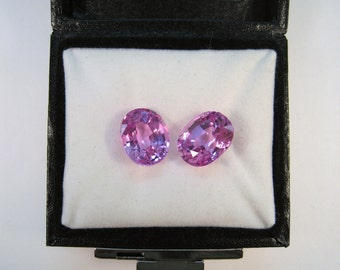 Matching 12 mm x 10 mm Oval Cut 16.50 CTW Lab Pink Sapphire Gemstones