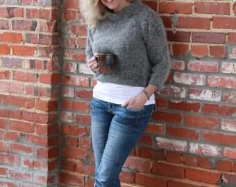 Gray Angora Cropped Sweater - M/L