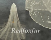 Ivory Bridal Veil Hand-beaded 2T Cathedral Veil Crescent edge Wedding dress Veil 3m length Veil Wedding Accessories With comb