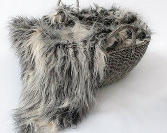 DISCONTINUED......Mongolian Faux fur, Gray and Ivory Mongolian Sheep Faux Fur, RTS, Newborn Prop,  Basket Filler, Layering Blanket.