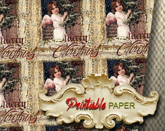 CHRISTMAS  ANGEL  -  Printable wrapping paper for Scrapbooking, Creat - Download and Print