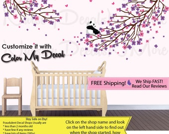 Girl Decal, Baby Wall Stickers, Panda Wall Sticker (Purple Pink 2BranchPanda) PRDB3 B62_F1-47_F2-35_C81_Bu48