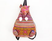 Small Elephant Backpack School Bag Adjustable Strap Hmong Handmade Thailand