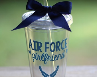ON SALE! Any Color: Air Force Girlfriend/Sister/Mom/Wife/etc 16 oz Tumbler