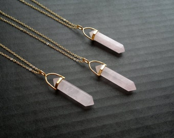 Gold Rose Quartz Crystal Point Necklace Stone Pendant  Rose Quartz Jewelry Natural Stone Chain Crystal Mineral Jewelry Layering Necklace