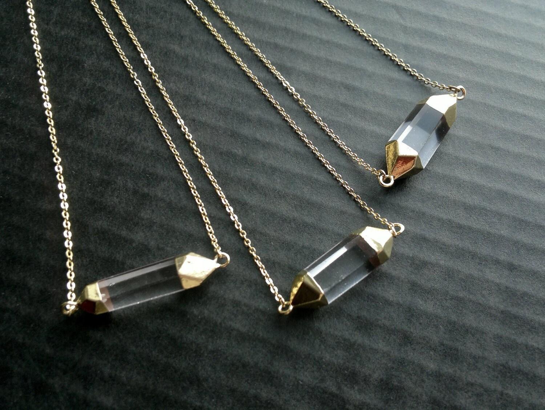 quartz necklace quartz pendant horizontal crystal point bar. Black Bedroom Furniture Sets. Home Design Ideas