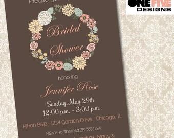 Floral Bridal Shower Invitation - Printable (5x7)