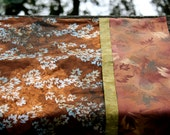 Standard Pillow Case Beautiful Brown and Green-gold Leaf Batik Fabric Pillow Case One of a Kind Standard Sized Pillow Case