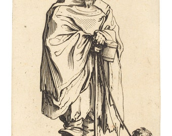 Beggar With Dog, 17th Century French Master Etching Print