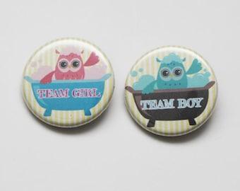30 pin buttons,gender reveal button pin,team girl team boy button,it's a boy,owl gender reveal button pin,owl baby shower,owl baby shower