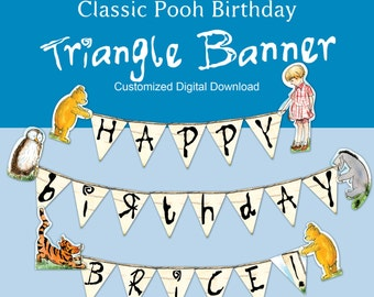 Classic Pooh Customized Triangle Birthday Banner
