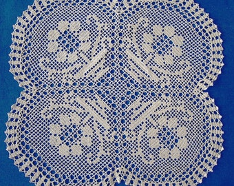 Hand crocheted tablecloth with four flowers; Crochet doily; Crochet tablecloth; VerLen crochet; Free shipping