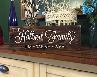Personalized Family Name Sign - Last Name Sign - Rustic Wood Established Sign