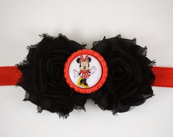Minnie Mouse Red and Black Headband  - Minnie Mouse Halloween Costume - Disney Costume - Baby Headband - Toddler Headband - Adult Headband