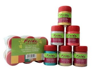 Metallic Colors Frida Art & Craft Acrylic Paint Set of 6 x 20ml (.67oz)