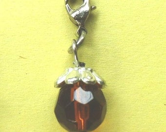 Dangle Dark Amber Faceted Dangle for Bracelets, Floating Charm Pendants, Necklaces & Keychains  D020