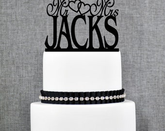 Mr and Mrs Last Name Wedding Cake Topper with Hearts, Mr and Mrs Cake Topper, Custom Wedding Cake Topper, Elegant Wedding Topper- (T022)