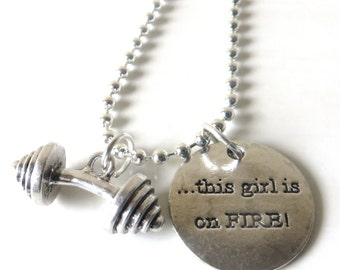 This Girl is On Fire Barbell Weightlifter Bodybuilder Weight Stack Charm Necklace YOU Choose Necklace Length