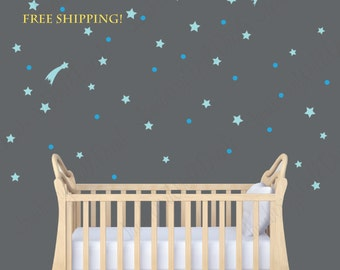 FABRIC Star Decal, Space Wall Decal, Stars (Stars Only)