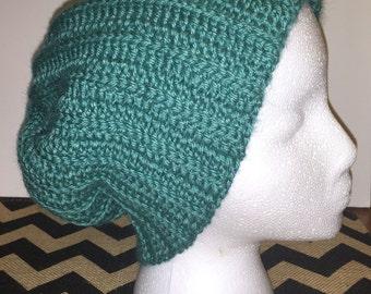 Hand-crocheted slouch beanie (teal)