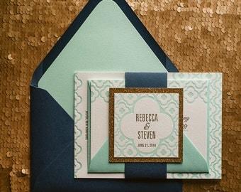 Navy & Mint Wedding Invitation, Mint Wedding Invite, Quatrefoil Pattern Invitation, Navy Invitation - Sample Set
