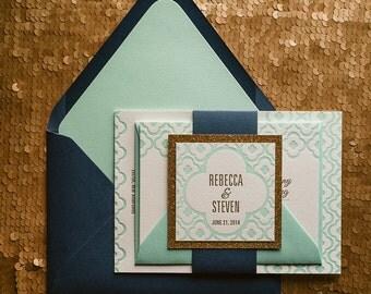 Navy & Mint Letterpress Wedding Invitation, Mint Wedding Invite, Quatrefoil Pattern Invitation, Navy Invitation - Sample Set