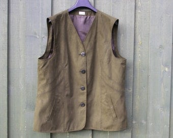 Women's Extra Large Size Vest Olive Green Vest Khaki Faux Suede Waistcoat Grandmother Vest