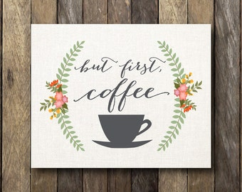 Coffee Typography - Kitchen Printable - Coffee Art Print - Instant Download - Kitchen Wall Art - Coffee Typography Print - Coffee Printable